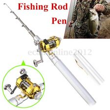 Mini Acero Pluma Caña Pescar Portátil Fishing Rod Telescópico Polo con Carrete