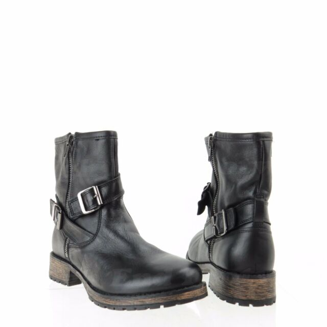 Shoes Black Leather Zip