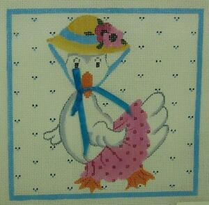 Magic-Needle-Mother-Duck-Needlepoint-Canvas-Spring-Bonnet-Pink-Skirt-Flowers