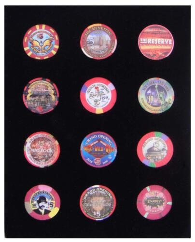 NOT INCLUDED 8x10 BLACK DISPLAY INSERT FOR 12 CASINO POKER CHIPS