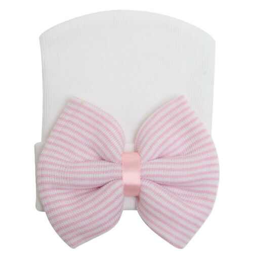 Soft Baby Girl Infant child Striped Hat With Bow Cap Newborn Beanie w//Diomand UK