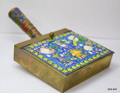Antique Chinese Solid Brass Cloisonne Silent Butler Ashtray Enamel SmokingAccess