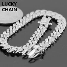 925 STERLING SILVER ICED OUT LAB DIAMOND CUBAN BRACELET 7''6mm 20g