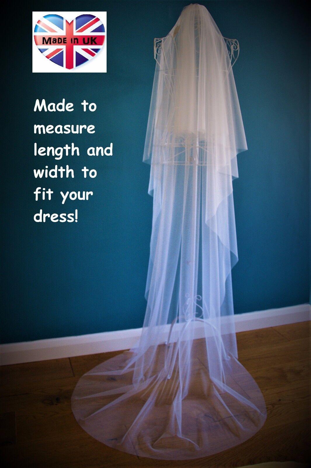 2 Tier Wedding Veil *Chapel Length*Drop Veil*Cut Edge*Made to measure*