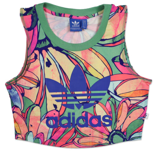 Adidas Original X The Ferme Bananes Recadrée Tee Shirt Femme Chemise Top Court
