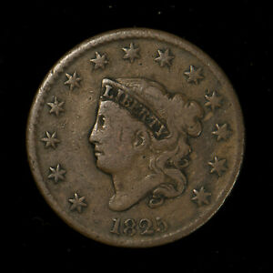1825-CORONET-HEAD-1C-LARGE-CENT-FINE-COIN-NICE-EXAMPLE-Lot-X278