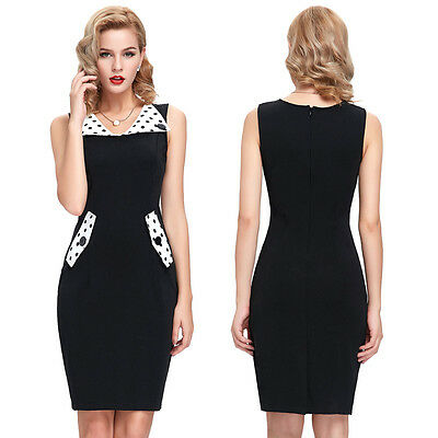 Lady Retro Style 50s Vintage Sexy Slim Fit Pencil Sleeveless Party Dress Bodycon