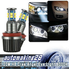 2X 120W 6-Side H8 LED Angel Eyes Halo Ring Light Bulbs White For BMW Coupe 07-13