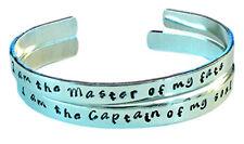 I am the master of my fate... - Hand Stamped Bracelet Aluminum Cuff Skinny Ba...