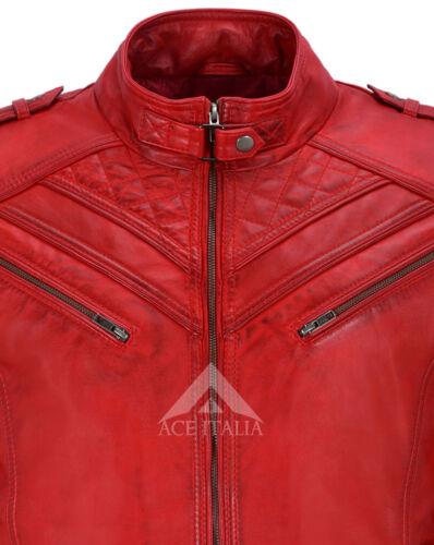 100 2414 Motorcycle uomo Retro Red Real in Napa Style Giacca Biker da pelle gxzzR6
