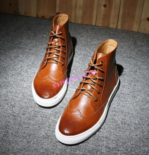 Retro Mens Brogue Oxfords Riding Military Leather Ankle Boots High Top Shoes Hot