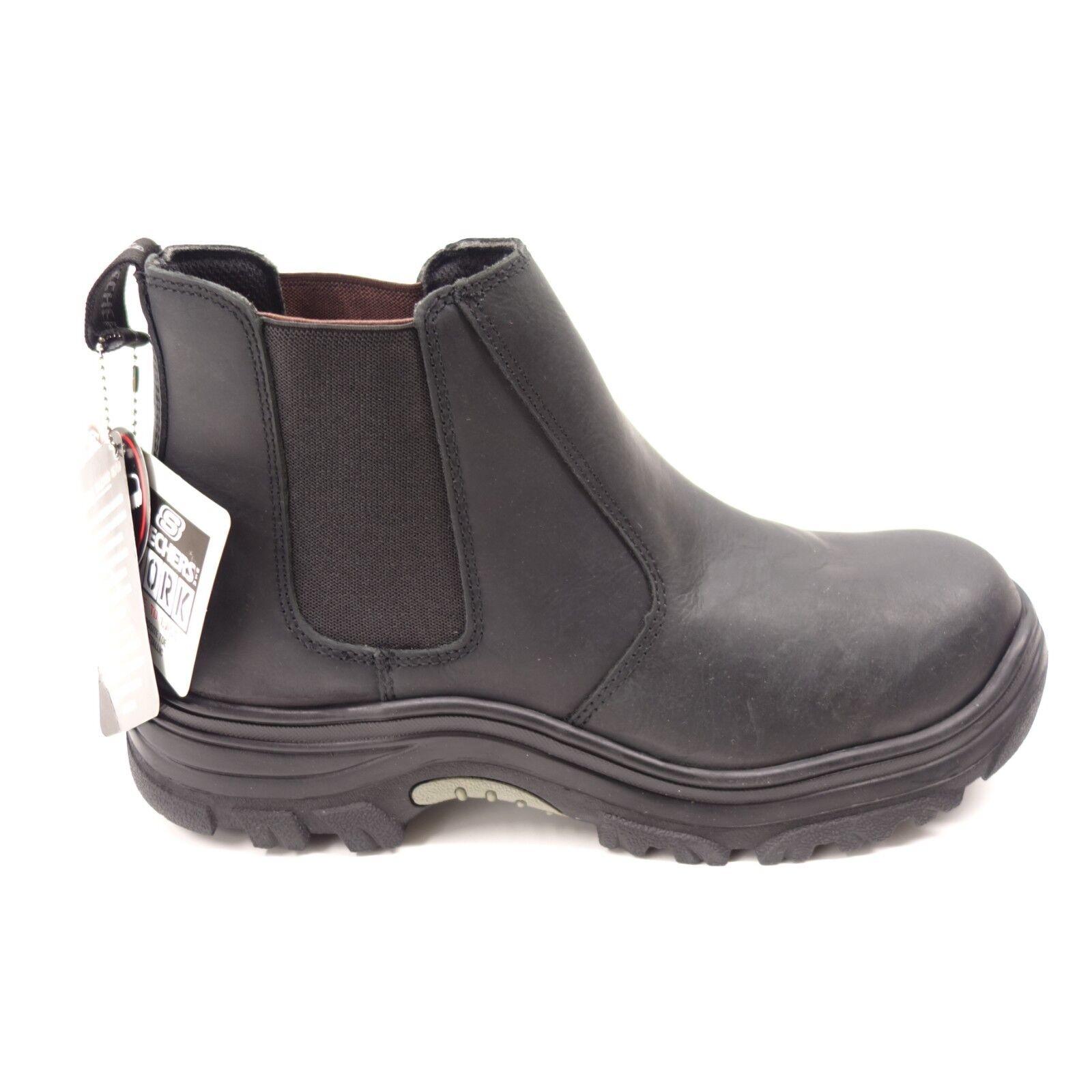 Nuevo Skechers Hombre Burgin Glennert Compás Punta Cuero Negro botas de Trabajo