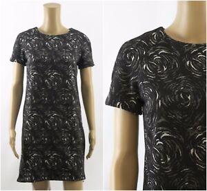 Marks-amp-Spencer-Best-of-British-Black-Rose-Print-Tunic-Shift-Casual-Dress