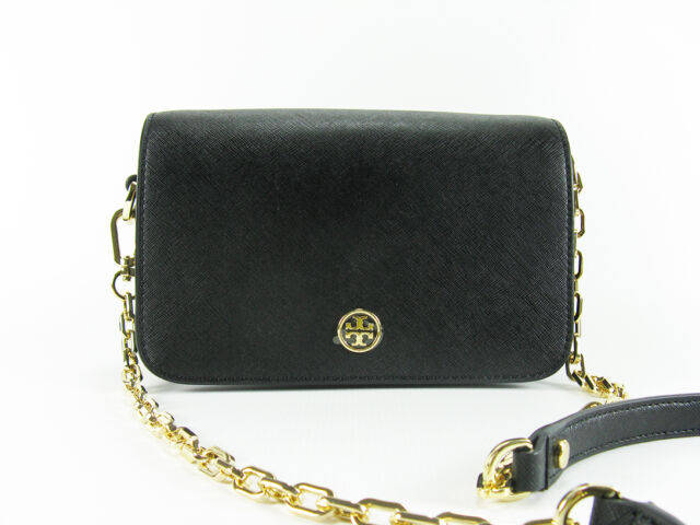 3b681c24bdae NWT Tory Burch Robinson Chain Leather Mini Bag Crossbody in BLACK  395