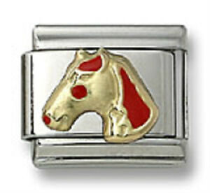 Italian-Charm-Horse-Red-Enamel-9-mm-Stainless-Steel-Modular-Link-Free-Shipping