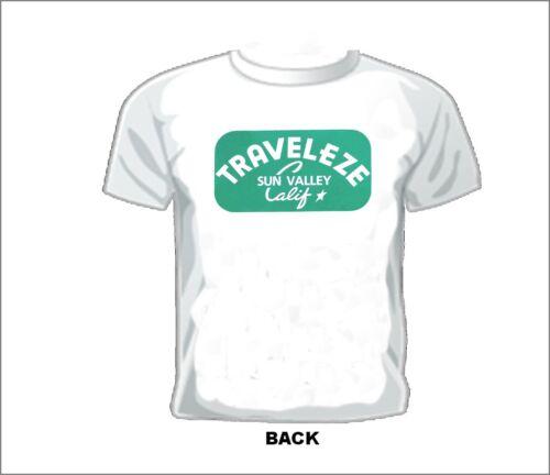 VINTAGE TRAVEL TRAILER T-SHIRT TRAVELEZE SUN VALLEY CALIF.