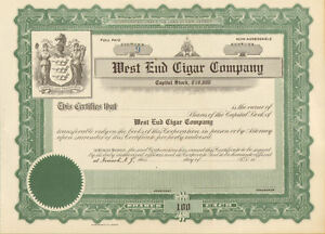 West-End-Cigar-Company-gt-Newark-New-Jersey-stock-certificate-share