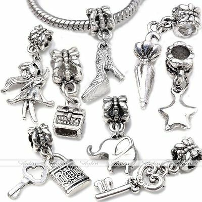 5pcs Silver Plated Dangle Charm Beads Pendent Fit European Bracelet Necklace