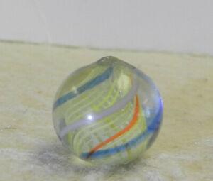 #13041m Vintage German Handmade Yellow Latticino Swirl Marble .60 Inches