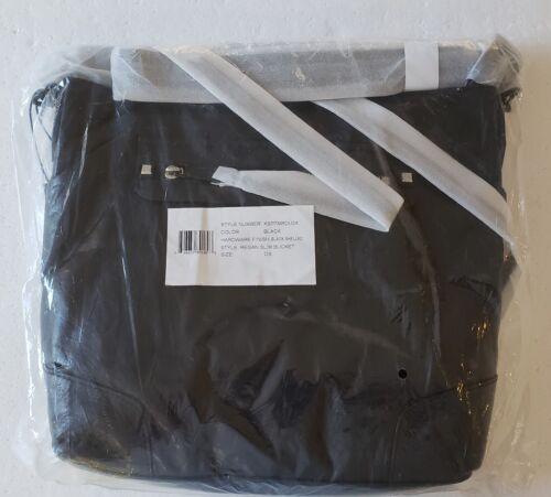NWT $245 REBECCA MINKOFF GLOSSY LEATHER BLACK REGAN SLIM BUCKET SHOULDER HOBO