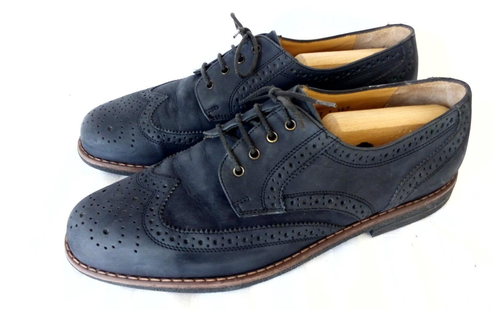 FRETZ Hommes Décontracté Full Brogue Derby Chaussures Hommes Bleu Daim UK 9.5 43,5 Top