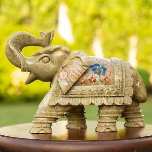 Natural Soapstone Marble Salute Pose Elephant Inlaid Multi Stone Floral Art Deco