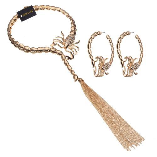 Fashion Jewelry Gold Scorpion Choker Statement Pendentif Bib Collier boucles d/'oreilles Set