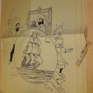 Fac-simile-Poster-Affiche-BD-TINTIN-Tresor-de-rackham-annees-1950-50x37-5cm
