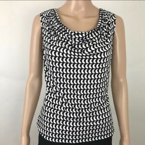 Calvin Klein Womens Blouse Drape Neck Sleeveless Black White