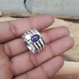 Amethyst-Ring-Solid-925-Sterling-Silver-Spinner-Meditation-Statement-Ring-V888