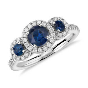 Unique-1-70-Ct-Natural-Diamond-Blue-Sapphire-Ring-14K-Solid-White-Gold-Size-7-8