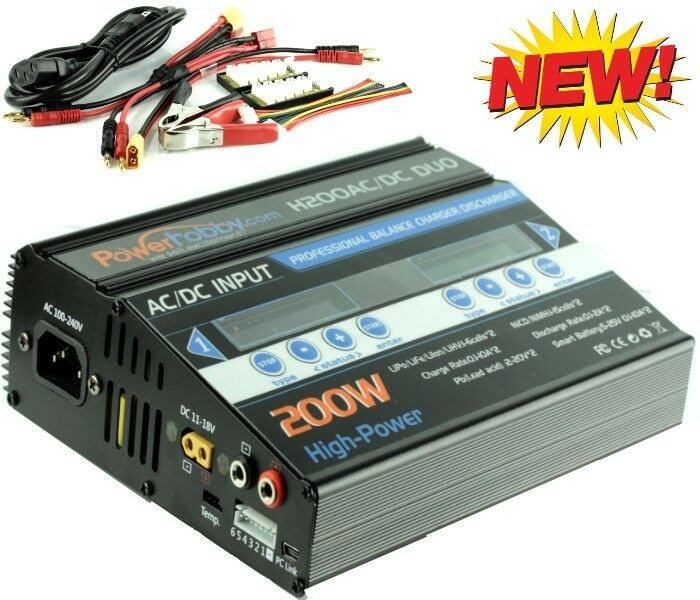 Powerhobby H200 AC DC 100W X2 Dual 10A LiPo DUO RC Battery Balance Charger negro