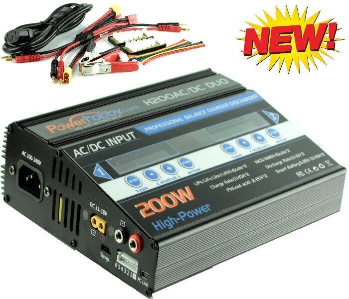 Powerhobby H200 ca   cc 100w X2 Dual 10a Lipo Duo Rc Batería Cargador de Balance