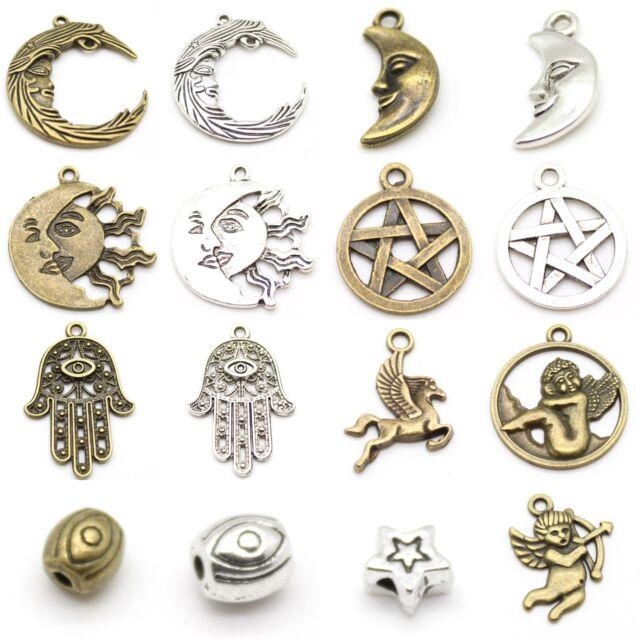 Hamsa, Evil Eye, Moon, Pentagram, Pegasus, Cherub, Cupid Charm, Pendant & Bead