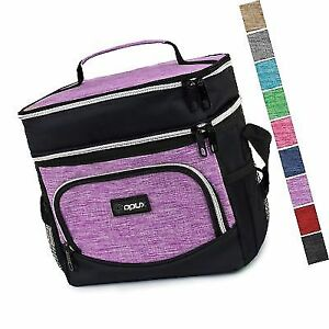 07e6d4751d Premium Thermal Insulated Dual Compartment Lunch Bag for Women Double Deck  Tote