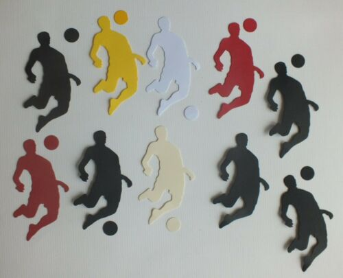 10 die cut shapes Footballer figure with ball assorted colours