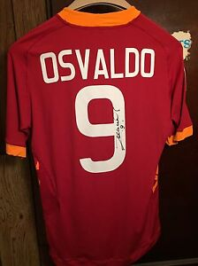 watch 43d63 4ac27 Details about Dani Osvaldo SIGNED AS Roma 100% Authentic Home Jersey Kit  New With Tags Size L