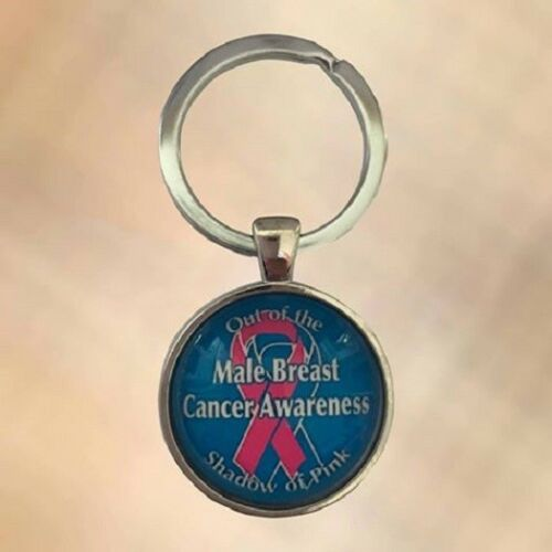 NEW Pink Ribbon Male Breast Cancer Awareness Keyring Key Chain