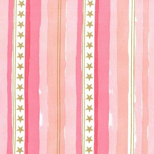 Metallic stars /& stripes rose michael miller tissu fq plus 100/% coton