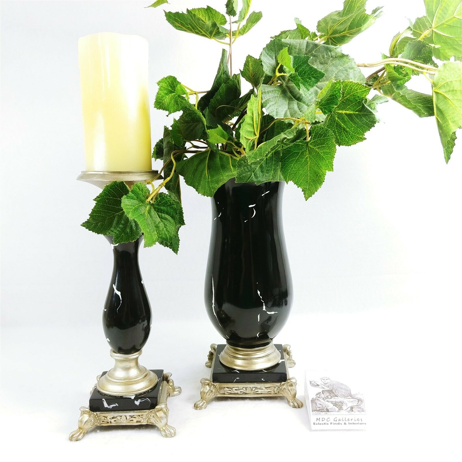 Faux Marble Candleholder and Vase