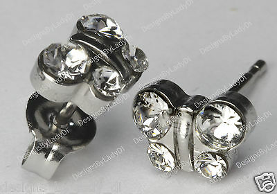 Butterfly Stud Earrings Clear April Crystal Studex Sensitive Stainless Steel