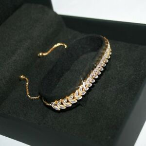 Leaf-Tennis-Bracelet-with-1-Natural-Tiny-Diamond-14k-Yellow-Gold-over-925-SS