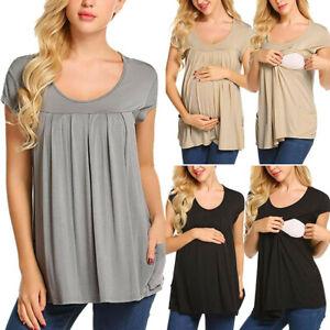 Women Nursing Long Sleeve Top Solid Basic Tee T Shirt Casual Maternity Blouse CR