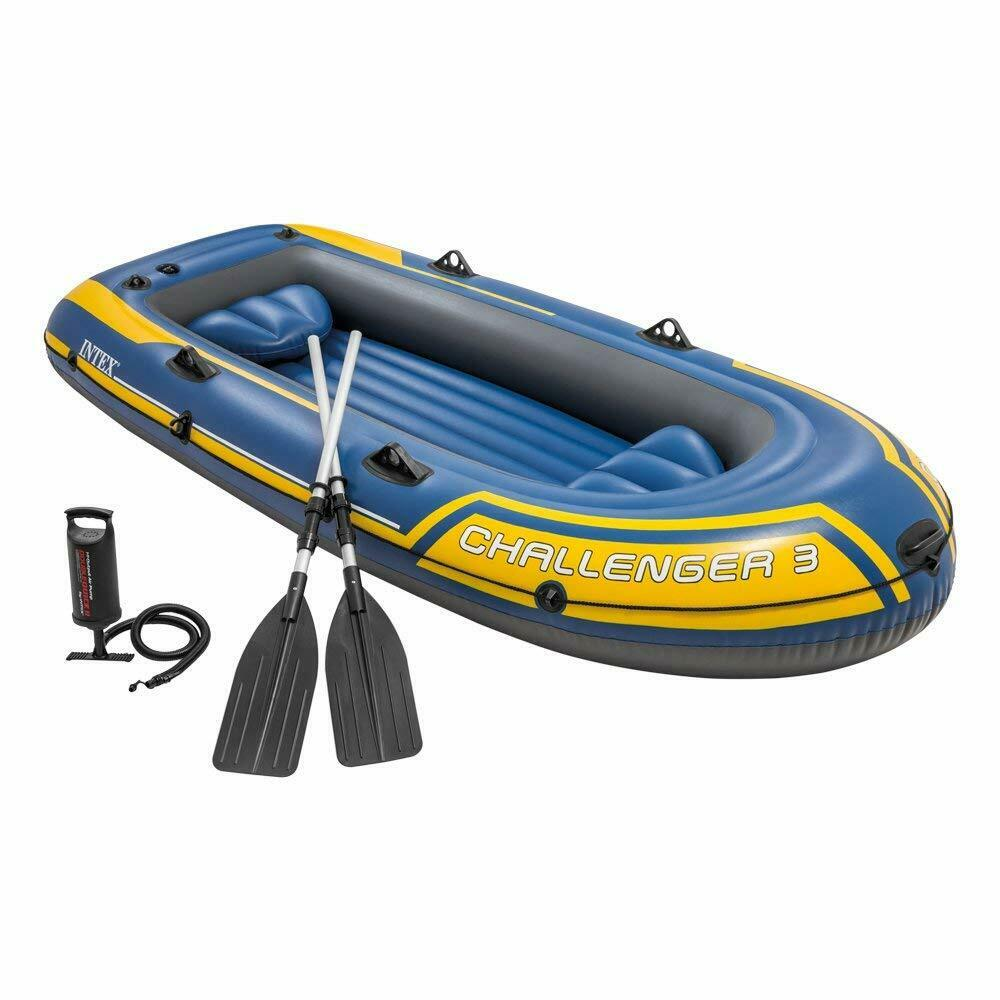 Intex Challenger 3 Boat Set - Three Man Inflatable Dinghy with Oars and Pump