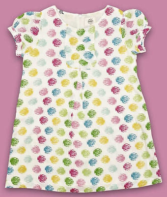 MINI BODEN girls short sleeve dress White with Faded Dots  NEW RRP £25