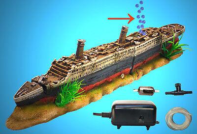 Aquarium Deko Sprudelndes Titanic Set Luftpumpe Zubehor Schiff Vo Ebay