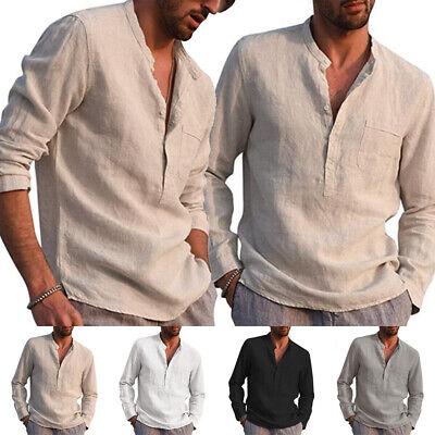 Mens Casual Long Sleeve Shirts Cotton Linen Blouse Loose Henley V-Neck Tops Plus