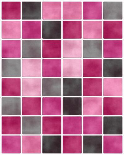 Fliesenaufkleber Fliesenbild Fliesen Fliesenimitat Aufkleber Mosaik Pink Schwarz