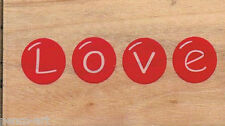 Docrafts Love wording image Rubber stamp on wood wooden block