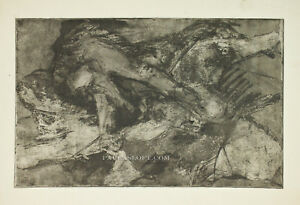 Mid-Century-Abstract-Etching-Block-Print-Dark-Black-Organic-Nude-Forms-Vtg